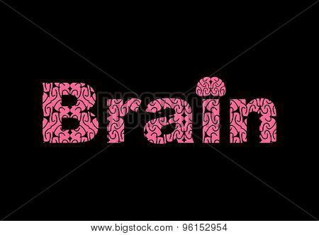 Brain. Text Of Texture Brains. Vector Illustration