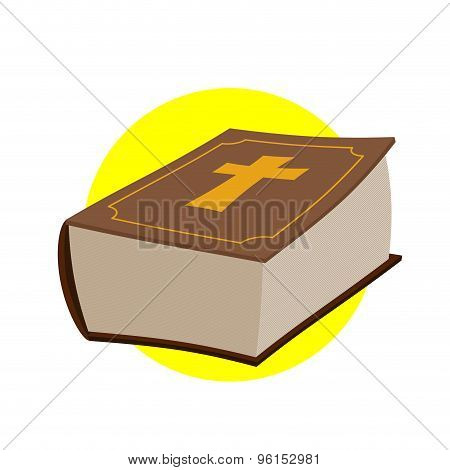Holy Bible. Thick Old Book With A Cross. Old And New Testament. Religious Christian Vector Illustrat