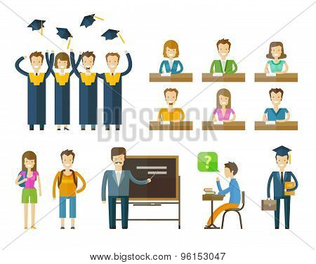 school, college icons set. graduate, university, student or education, schooling signs. vector illus