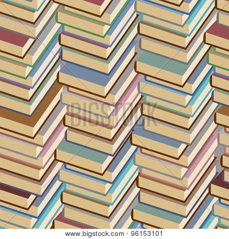 Stack Of Book Seamless Pattern. Vector Background.