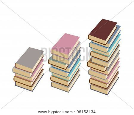 Set  Pile Of Book On A White Background. Vector Illustration