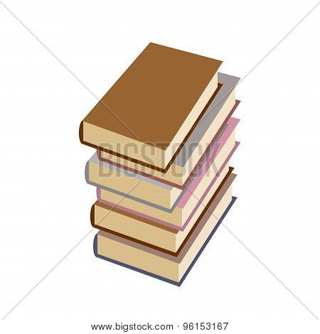 Stack BookOn White Background. Vector Illustration