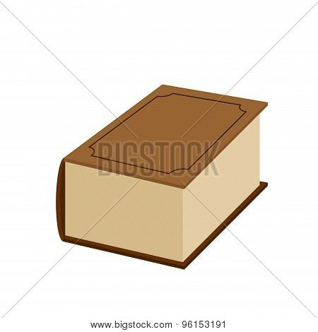 Big Fat Old Book On A White Background. Vector Illustration