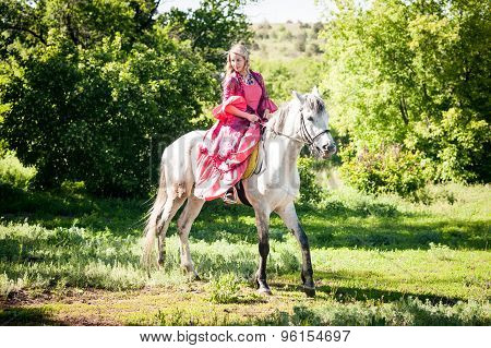 Horsewoman On White Horse