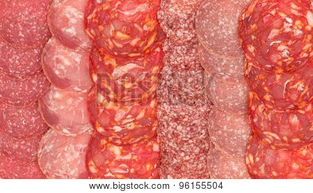 Background -variety of sliced salami.