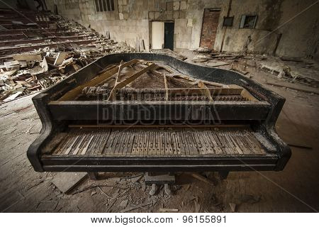 Chernobyl - Close-up Of An Old Piano In An Auditorium