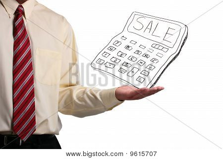 Man Holding A Calculator