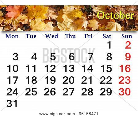 Calendar For October 2016 With Yellow Leaves