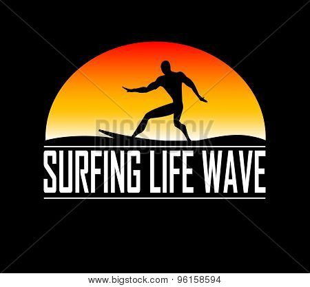 The silhouettes of surfer illustration