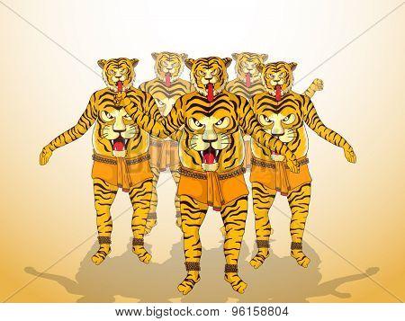 Illustration of a men in tiger dance (Puli Kali) get up on shiny  background for South Indian festival, Happy Onam celebration.