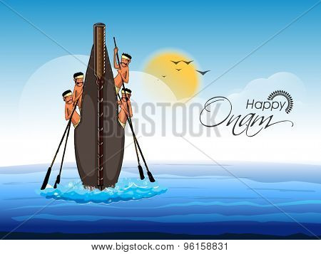 Illustration of snake boat with oarsmen at river on cloudy background for South Indian festival, Happy Onam celebration.