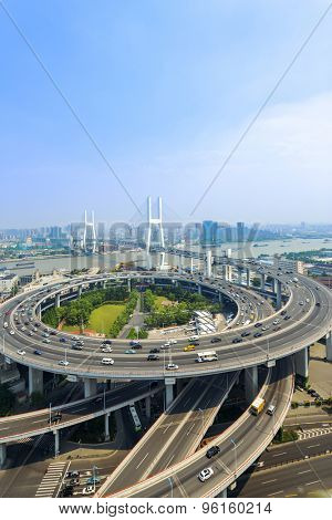 skyline and road intersection in shanghai