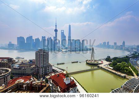 panoramic high angle view of shanghai at riverbank