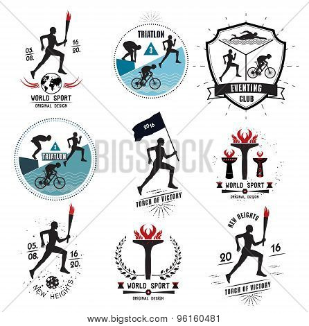 A set of Sports logos, emblems and design elements. The runner with the torch.