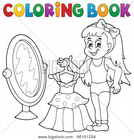 Coloring book girl with dress theme - eps10 vector illustration.