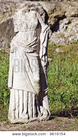 Greek archaic statue torso found at ancient Dion of Katerini city in north Greece