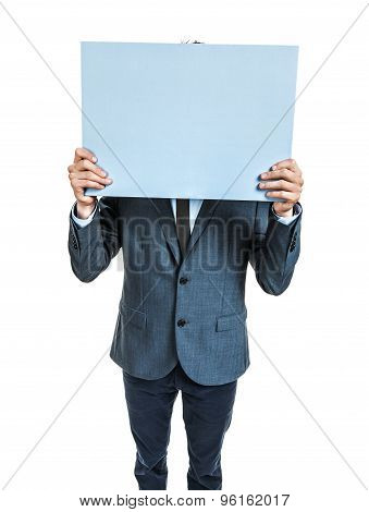 Businessman Holding And Showing Big Banner Ready For Your Text