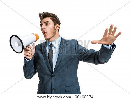 Dissatisfied Manager Screaming Into A Megaphone