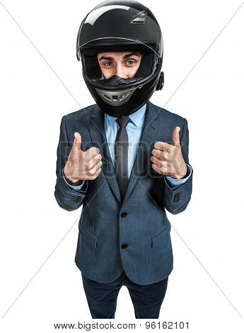 Businessman With Racing Helmet Give The Thumbs Up