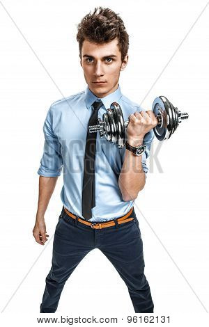 Handsome Businessman With A Dumbbell