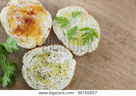 Sliced Bread With Spices And Vegetales. Vegetarian Sandwich