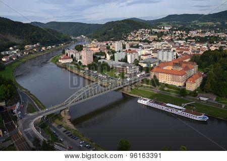 View Of The River Labe In Decin, Czech Republic