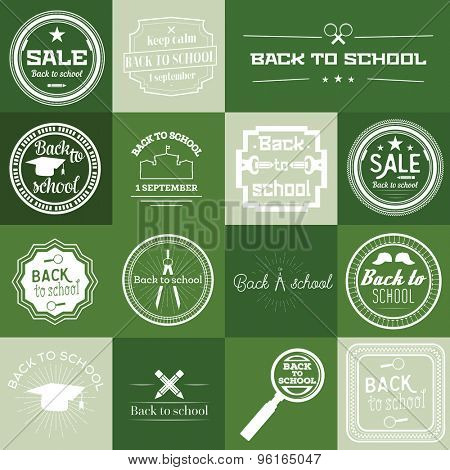 Set of Back to School Labels On Green Background. Vector illustration
