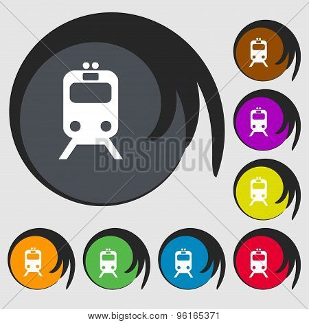 Train Icon Sign. Symbol On Eight Colored Buttons. Vector