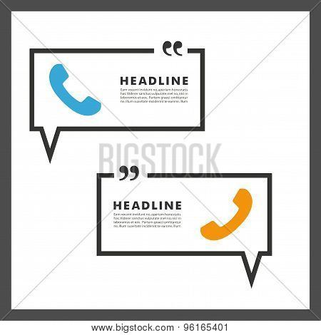 Vector background of handsets and speech bubbles