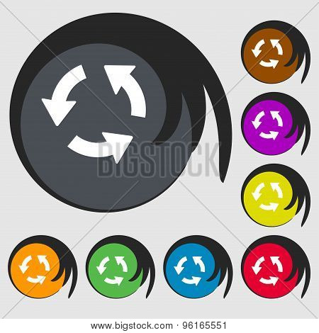 Refresh Icon Sign. Symbol On Eight Colored Buttons. Vector