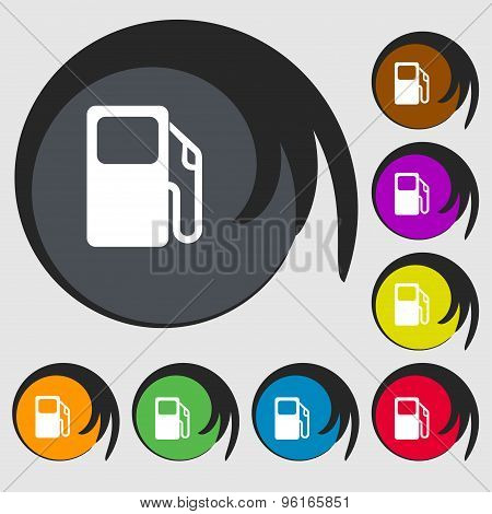 Auto Gas Station Icon Sign. Symbol On Eight Colored Buttons. Vector