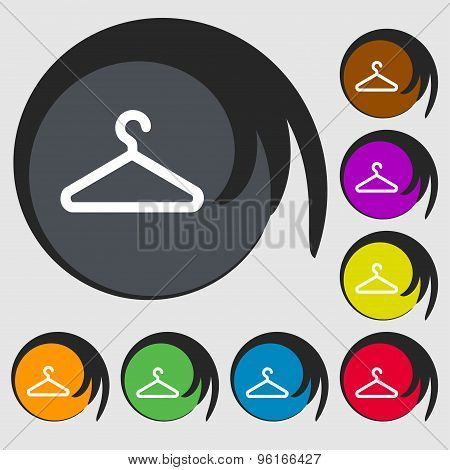 Clothes Hanger Icon Sign. Symbol On Eight Colored Buttons. Vector