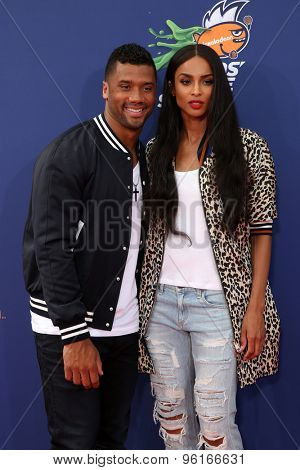 LOS ANGELES - JUL 16:  Russell Wilson, Ciara at the 2015 Kids' Choice Sports at the UCLA's Pauley Pavilion on July 16, 2015 in Westwood, CA