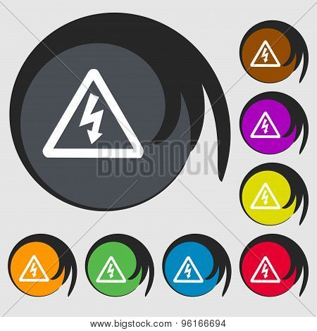 Voltage Icon Sign. Symbol On Eight Colored Buttons. Vector