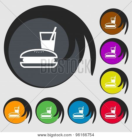 Lunch Box Icon Sign. Symbol On Eight Colored Buttons. Vector