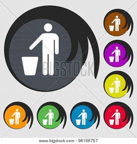 Throw Away The Trash Icon Sign. Symbol On Eight Colored Buttons. Vector