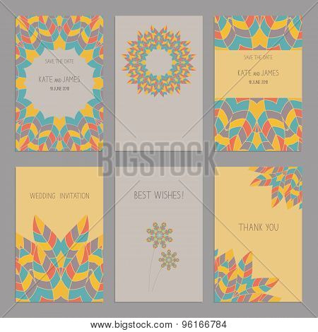 Vector Set of of vintage cards templates in ethnic American Indian style.