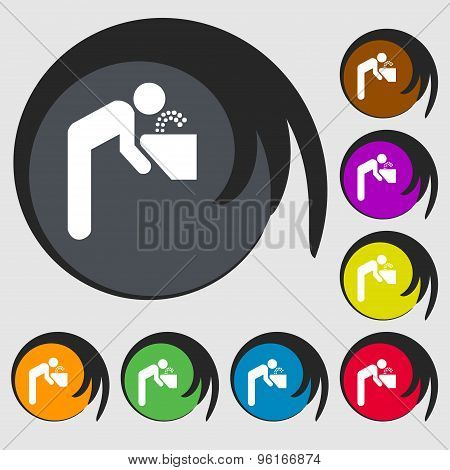 Drinking Fountain Icon Sign. Symbol On Eight Colored Buttons. Vector