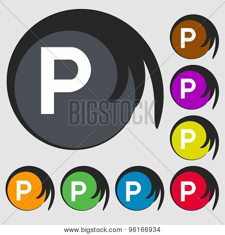 Parking Icon Sign. Symbol On Eight Colored Buttons. Vector