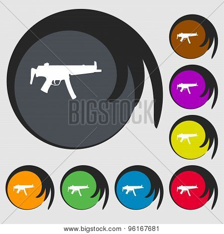 Machine Gun Icon Sign. Symbol On Eight Colored Buttons. Vector