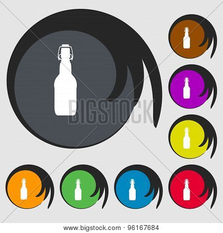Bottle Icon Sign. Symbol On Eight Colored Buttons. Vector