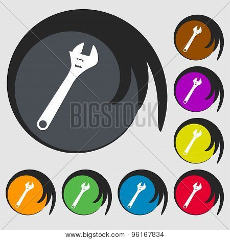 Wrench Icon Sign. Symbol On Eight Colored Buttons. Vector
