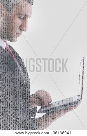 double exposure of business man working on laptop computer and abstract programming code numbers