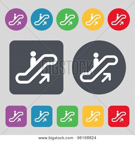 Elevator, Escalator, Staircase Icon Sign. A Set Of 12 Colored Buttons. Flat Design. Vector