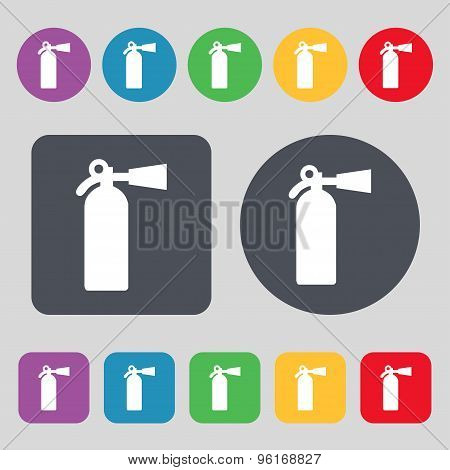 Extinguisher Icon Sign. A Set Of 12 Colored Buttons. Flat Design. Vector