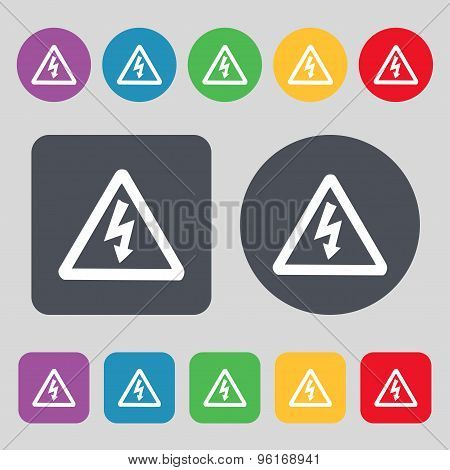 Voltage Icon Sign. A Set Of 12 Colored Buttons. Flat Design. Vector