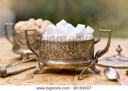 Sugar in antique bowls