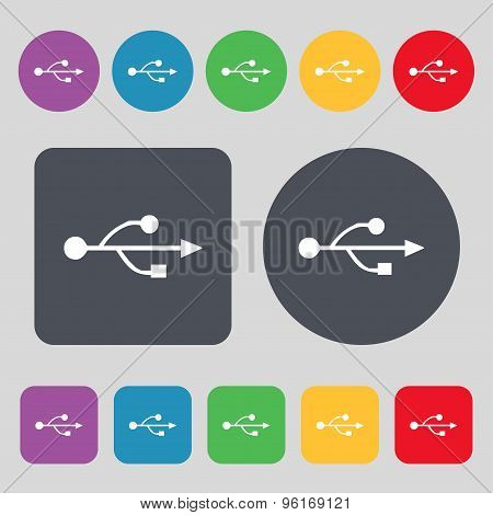 Usb Icon Sign. A Set Of 12 Colored Buttons. Flat Design. Vector