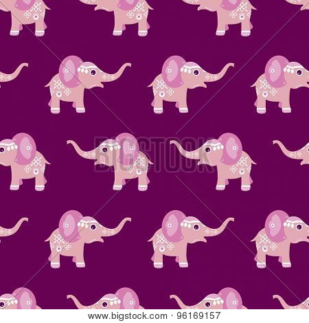 Seamless oriental indian elephant parade adorable pink baby animal illustration background pattern in vector