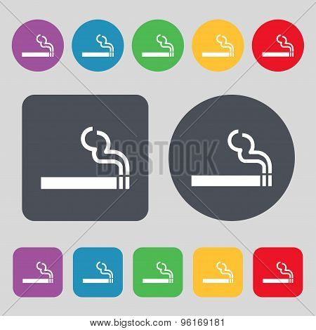 Cigarette Smoke Icon Sign. A Set Of 12 Colored Buttons. Flat Design. Vector